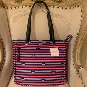 New Kate Spade kiss 💋 striped tote bag
